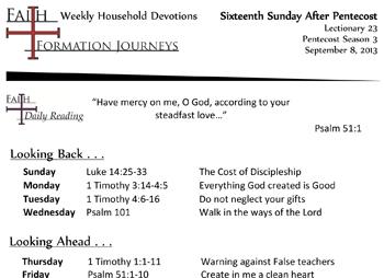 42 September 8 - 16th Sunday Pentecost Lec 23 Year C