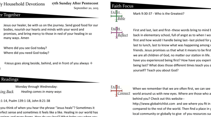 Weekly Devotion Page for September 20, 2015