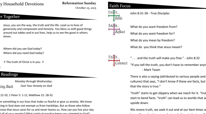 Weekly Devotions for Reformation – October 25, 2015