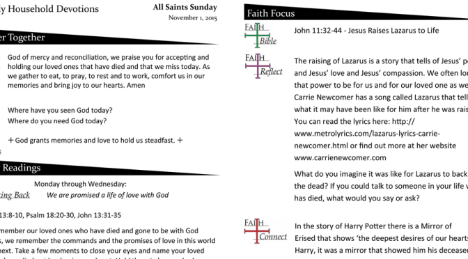 Weekly Devotion Page for Nov. 1, 2015 – All Saints Sunday