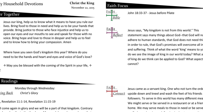Weekly Devotion Page for November 22, 2015