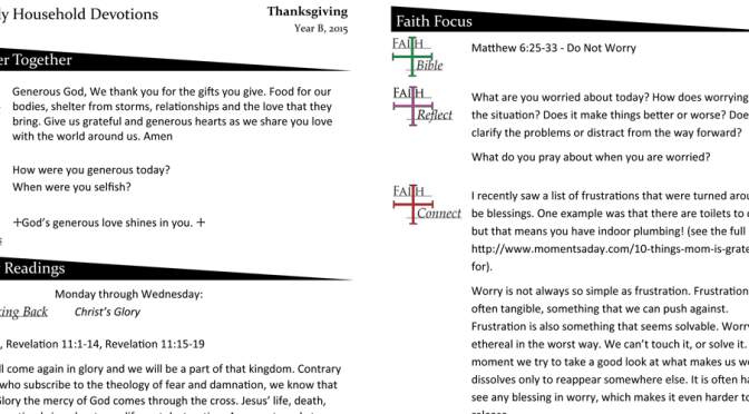 Household Devotion for Thanksgiving Week – Year B
