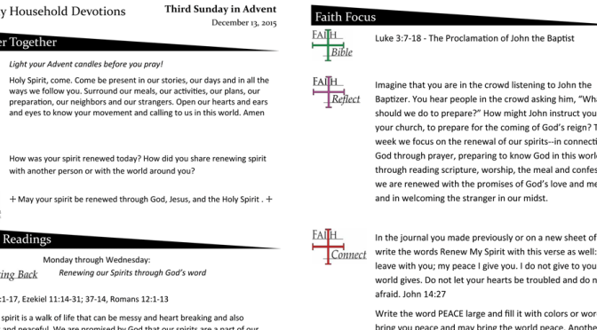 Weekly Devotion Page for December 13, 2015