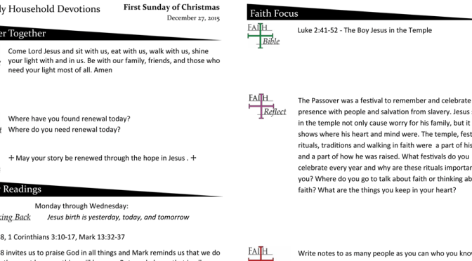 Weekly Devotions for December 27, 2015