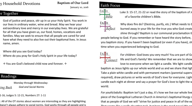 Weekly Household Devotions for January 10, 2016