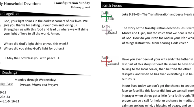 Weekly Devotion Page for February 7, 2016