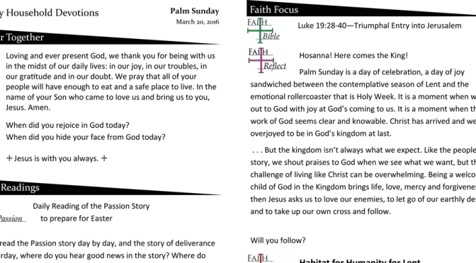 Weekly Devotion Page for March 20, 2016