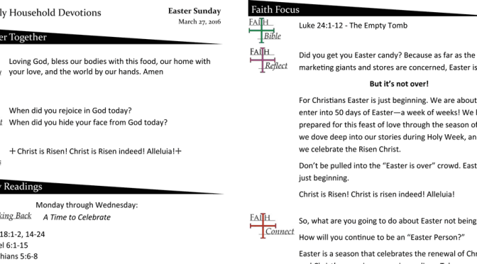 Weekly Household Devotion Page – Easter 2016