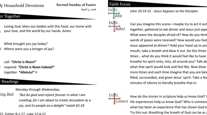 Weekly Devotion Page for April 3, 2016