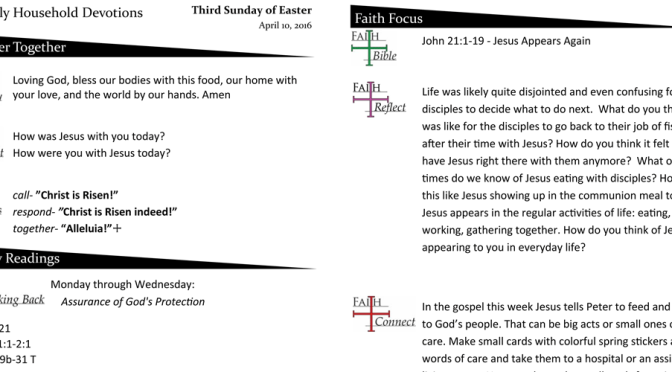 Weekly Household Devotion Page – April 10, 2016
