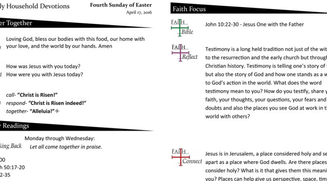 Weekly Household Devotions for April 17, 2016