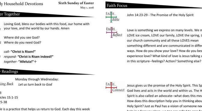 Weekly Devotion Page for May 1, 2016