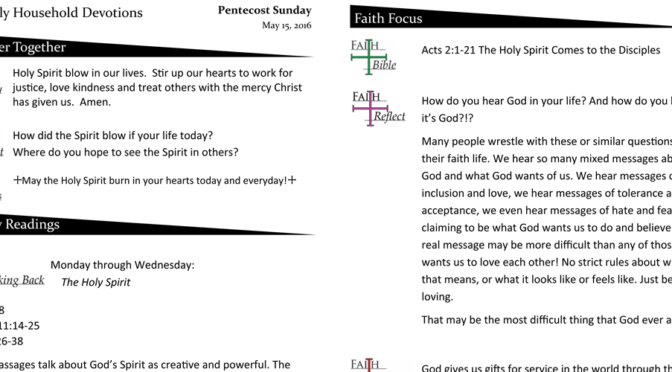 Weekly Devotion page for May 15, 2016
