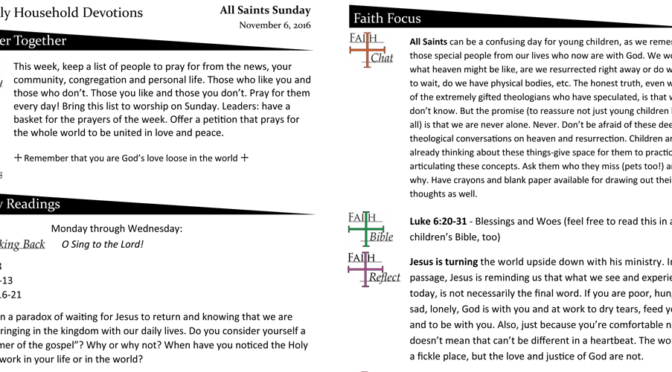 Weekly Household Devotion Page for November 6, 2016