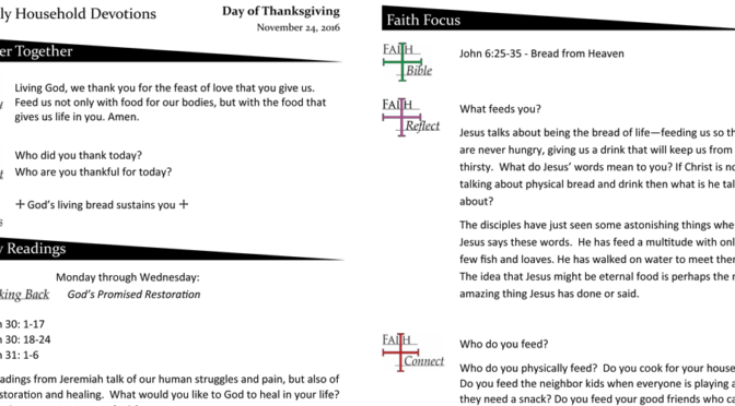 Weekly Devotions for The Day of Thanksgiving