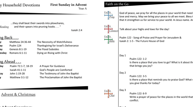Weekly Devotion Page for Advent 1- Year A