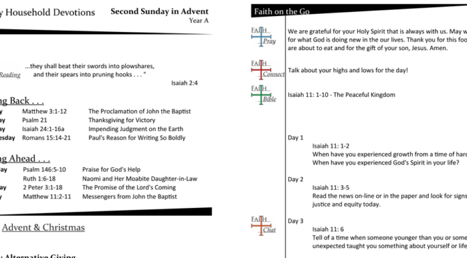 Weekly Household Devotions for Advent 2, Year A