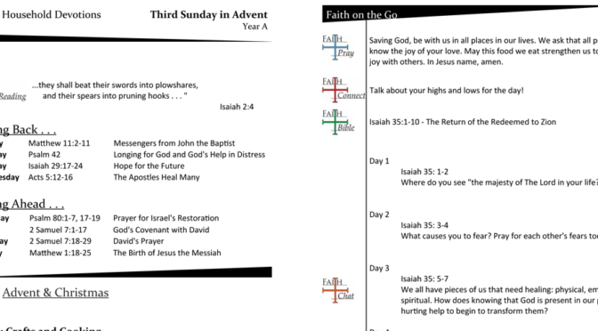Weekly Devotion Page for Advent 3 – Year A