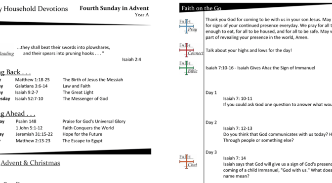 Weekly Household Devotion Page for Advent 4