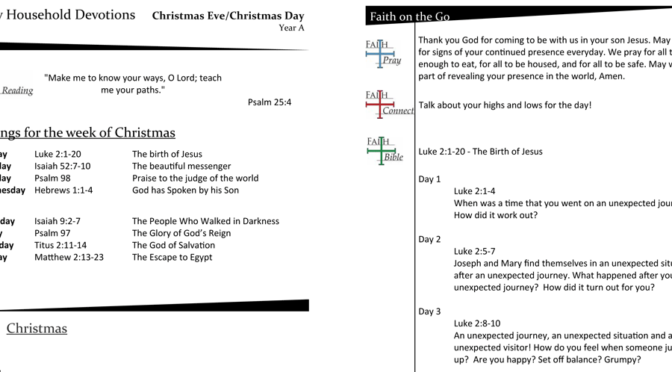 Weekly Household Devotions for Christmas Eve/Day, Year A
