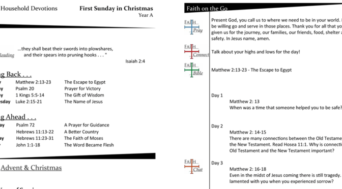 Weekly Devotion Page for the First Sunday of Christmas – Year A