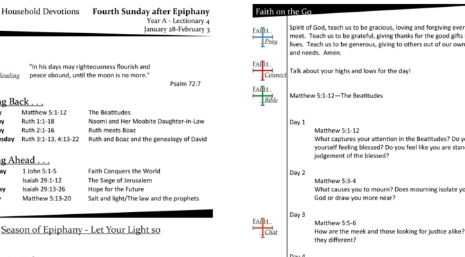 Weekly Devotion page for the 4th Sunday after Epiphany