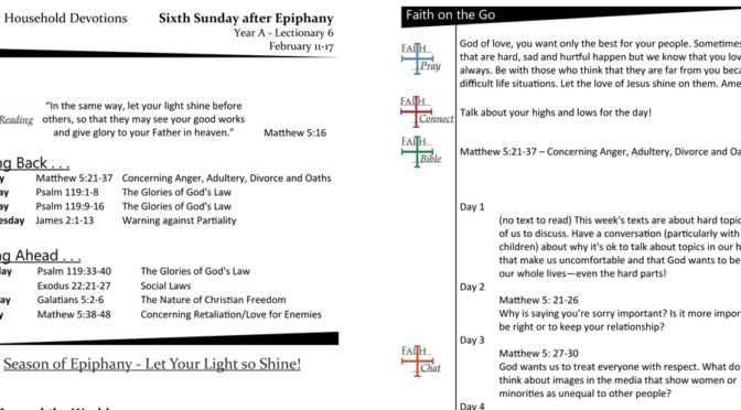 Household Devotion page for the 6th Sunday After Epiphany, Year A