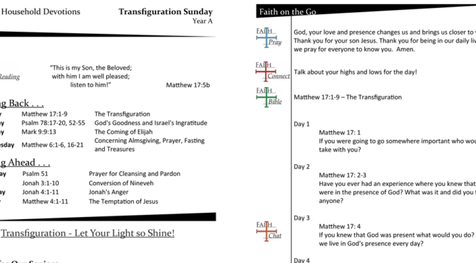Weekly Devotion Page for Transfiguration Sunday – Year A