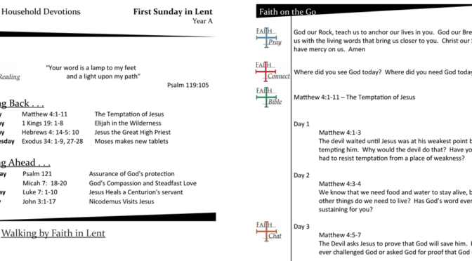 Weekly Household Devotion Page for the First Sunday in Lent – Year A