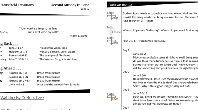 Weekly Household Devotion Page for Lent 2, Year A