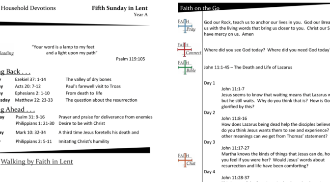 Weekly Household Devotion Page for the Fifth Sunday in Lent – Year A