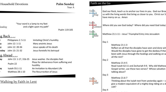 Weekly Devotion Page for Palm Sunday – Year A