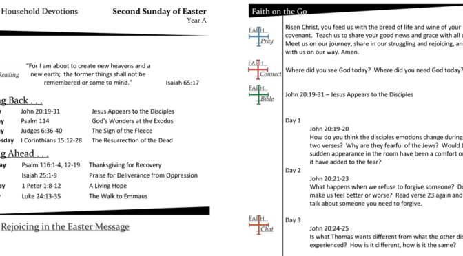 Weekly Devotion page for the 2nd Sunday of Easter – Year A