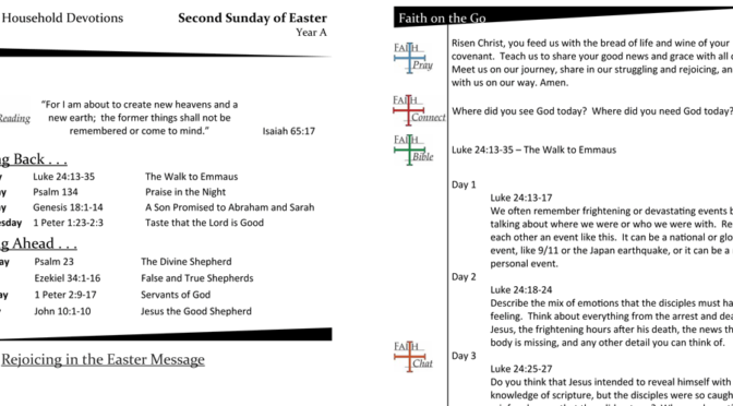 Weekly Devotion Page for the Third Sunday of Easter, Year A