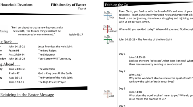 Weekly Devotion Page for the Sixth Sunday of Easter Year A