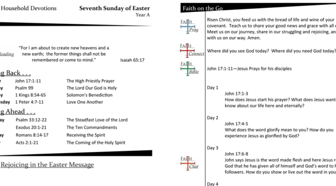 Weekly Devotion Page for the 7th Sunday of Easter, Year A