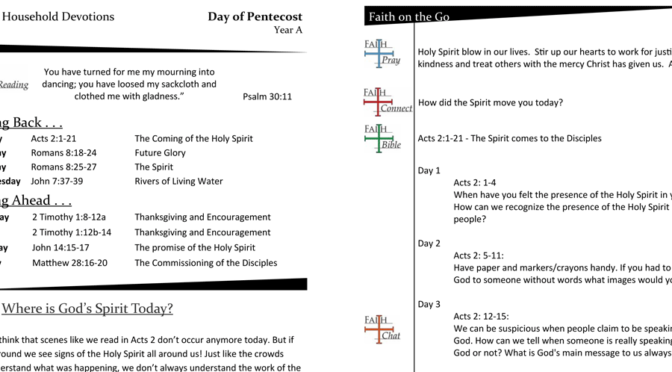Weekly Devotion page for the Day of Pentecost, Year A