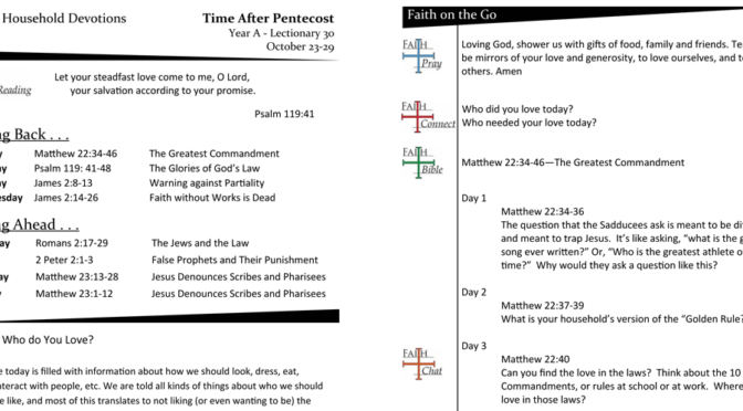 Weekly Devotion page for Lectionary 30A – October 23-29