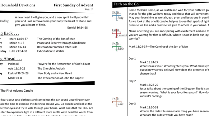 Weekly Devotion Page for Advent 1 – Year B