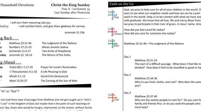 Weekly Devotion Page for Christ the King – Year A