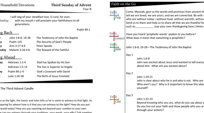 Weekly Devotion Page for Advent 3B