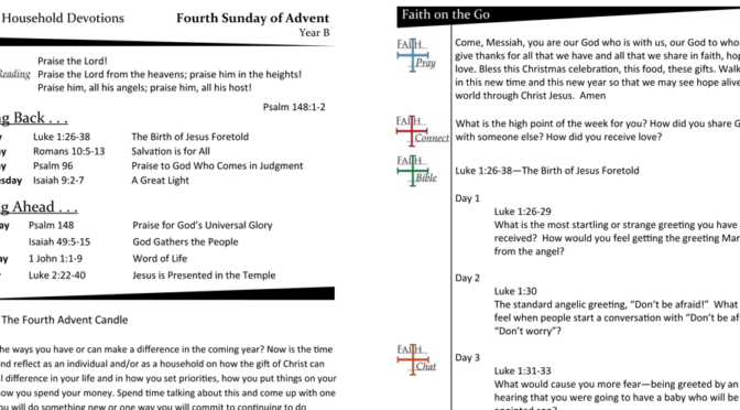 Weekly Devotion page for Year B – Advent 4