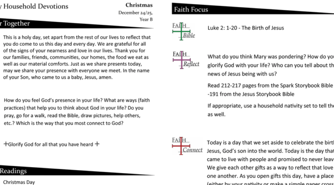Household Devotion Page for Christmas