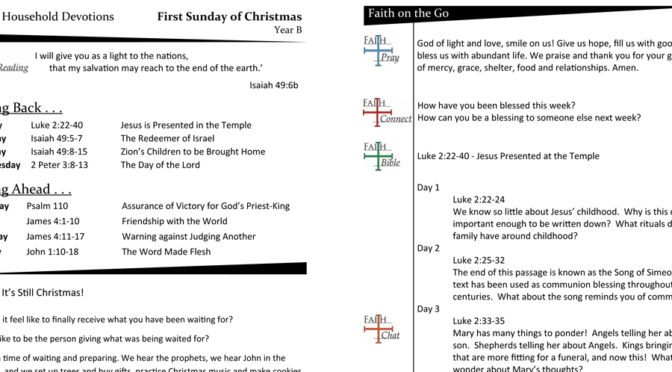 Weekly Devotion Page for the First Sunday of Christmas – Year B