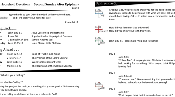 Weekly Devotion Page for the Second Sunday after Epiphany – Year B