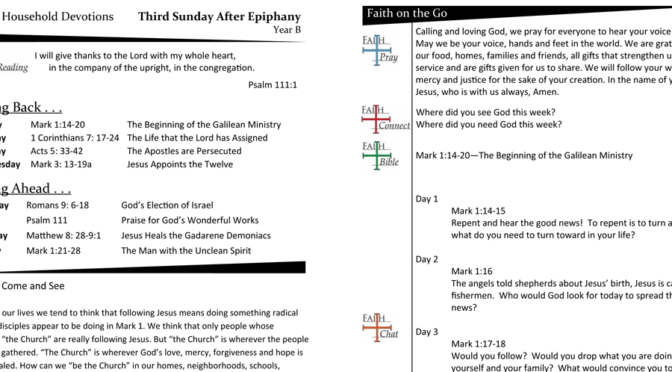 Weekly Devotion Page for Epiphany 3 – Year B
