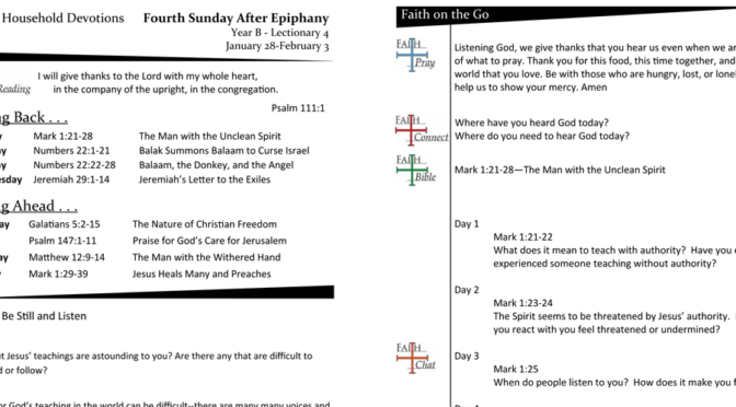 Weekly Devotion Page – 4th Sunday after Epiphany, Lec 4B
