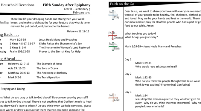 Weekly Devotion Page – Epiphany 5, Year B