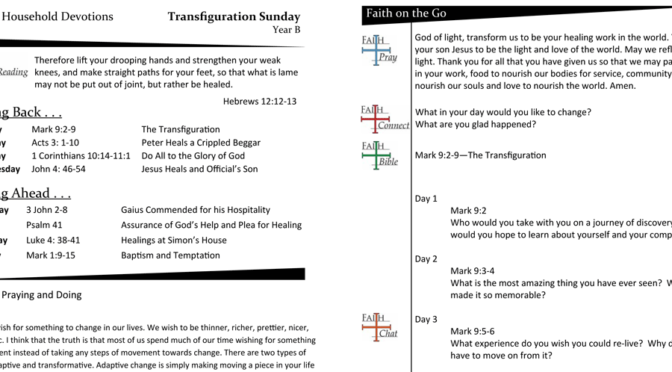Weekly Devotion Page for Transfiguration Sunday – Year B