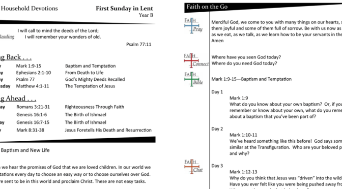 Weekly Devotion Page for the First Sunday in Lent – Year B